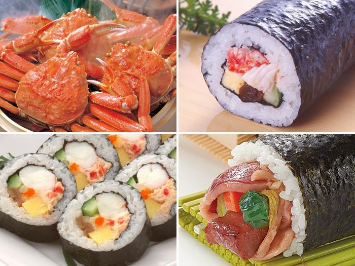 今年の恵方は「東北東」。本場直送のタラバ、ズワイを使用した『甲羅本店』こだわりの恵方寿司を味わおう。