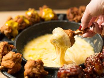 《岡山市北区/チェゴ屋》ジューシーなチキンを濃厚チーズと絡めていただく、UFOフォンデュを堪能して。